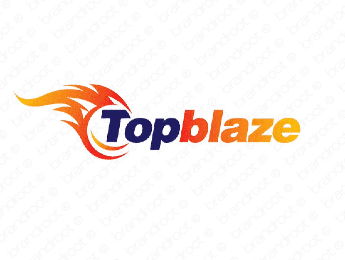 Topblaze logo design included with business name and domain name, Topblaze.com.