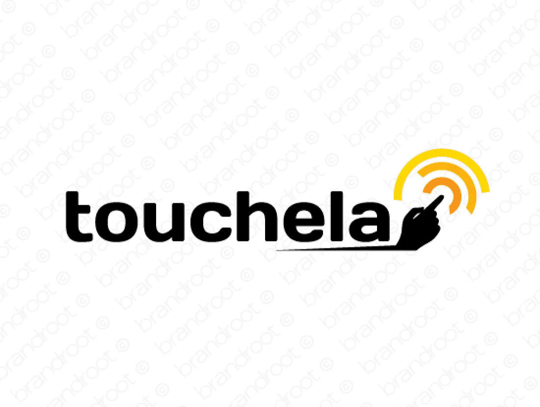 Touchela logo design included with business name and domain name, Touchela.com.