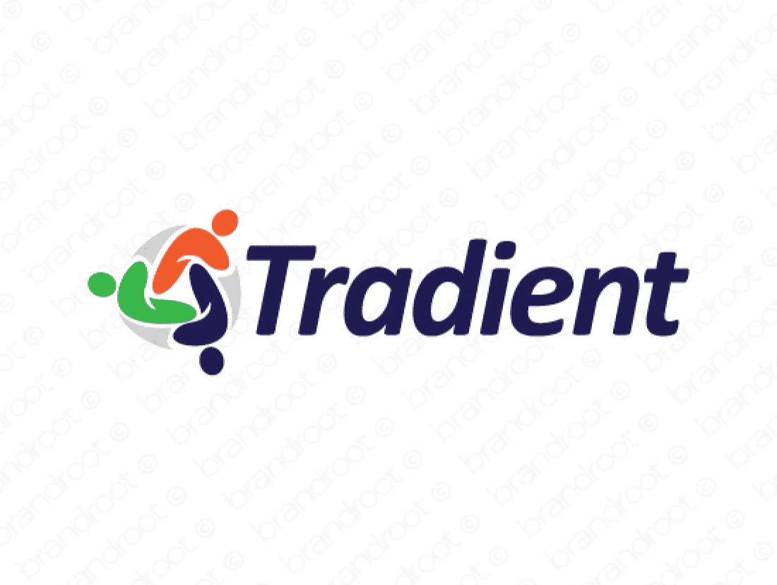 Tradient logo design included with business name and domain name, Tradient.com.