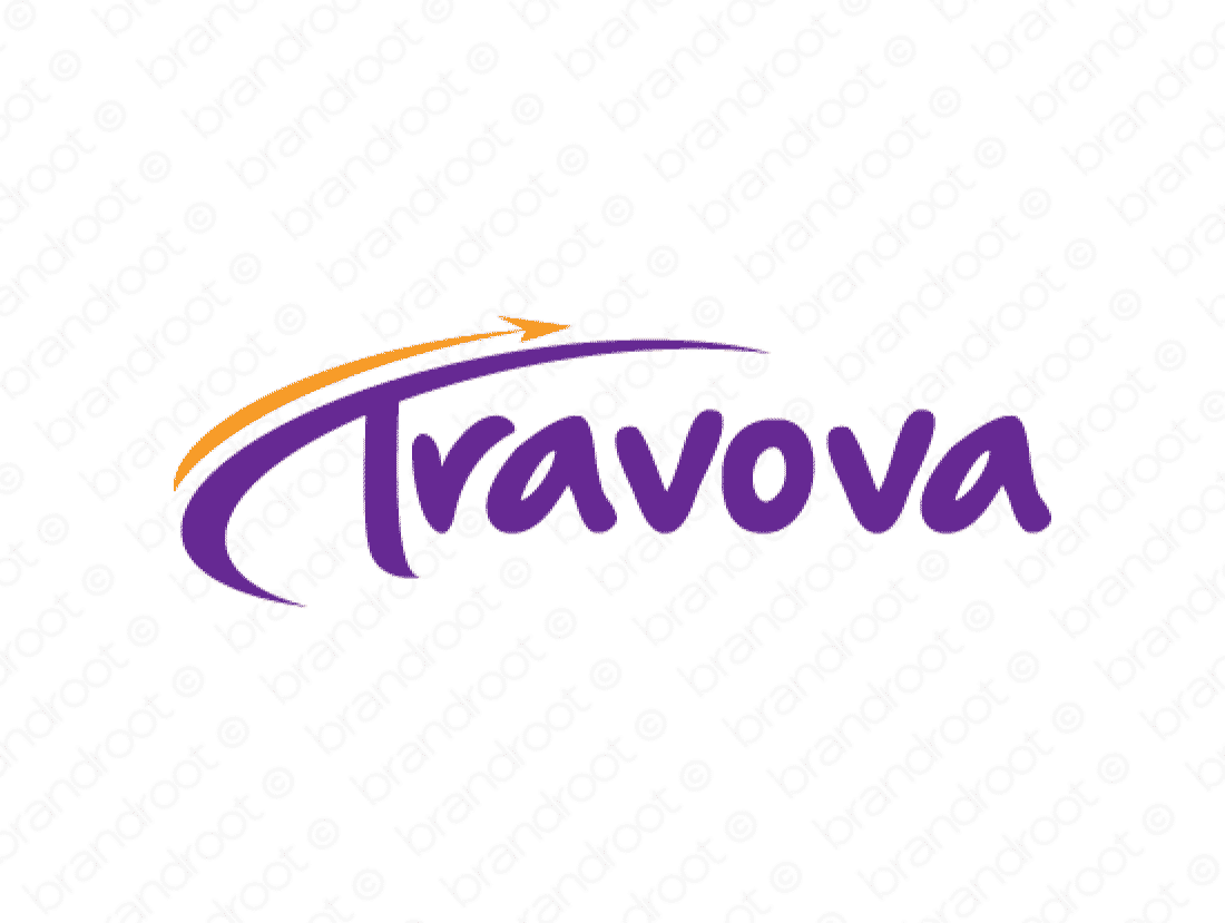 Travova logo design included with business name and domain name, Travova.com.