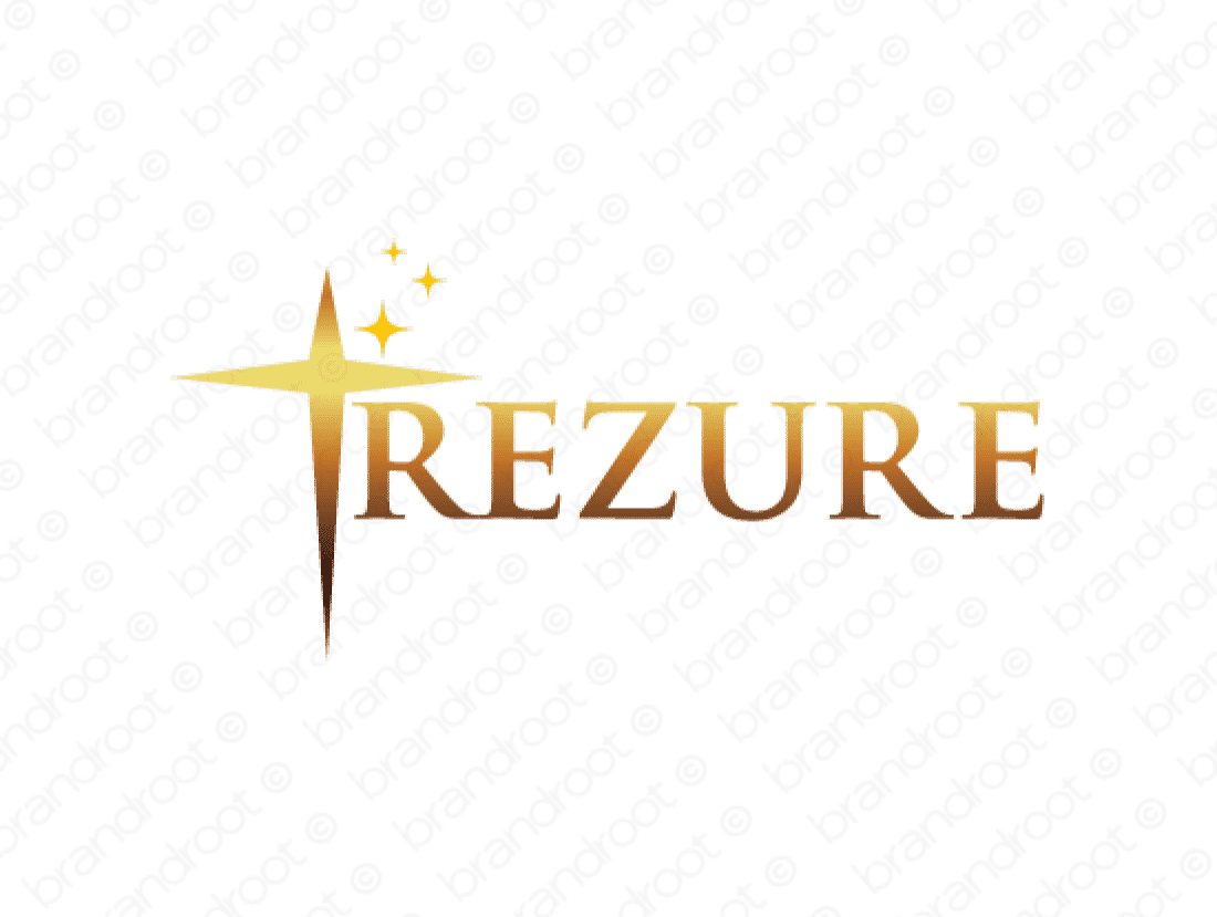 Trezure logo design included with business name and domain name, Trezure.com.