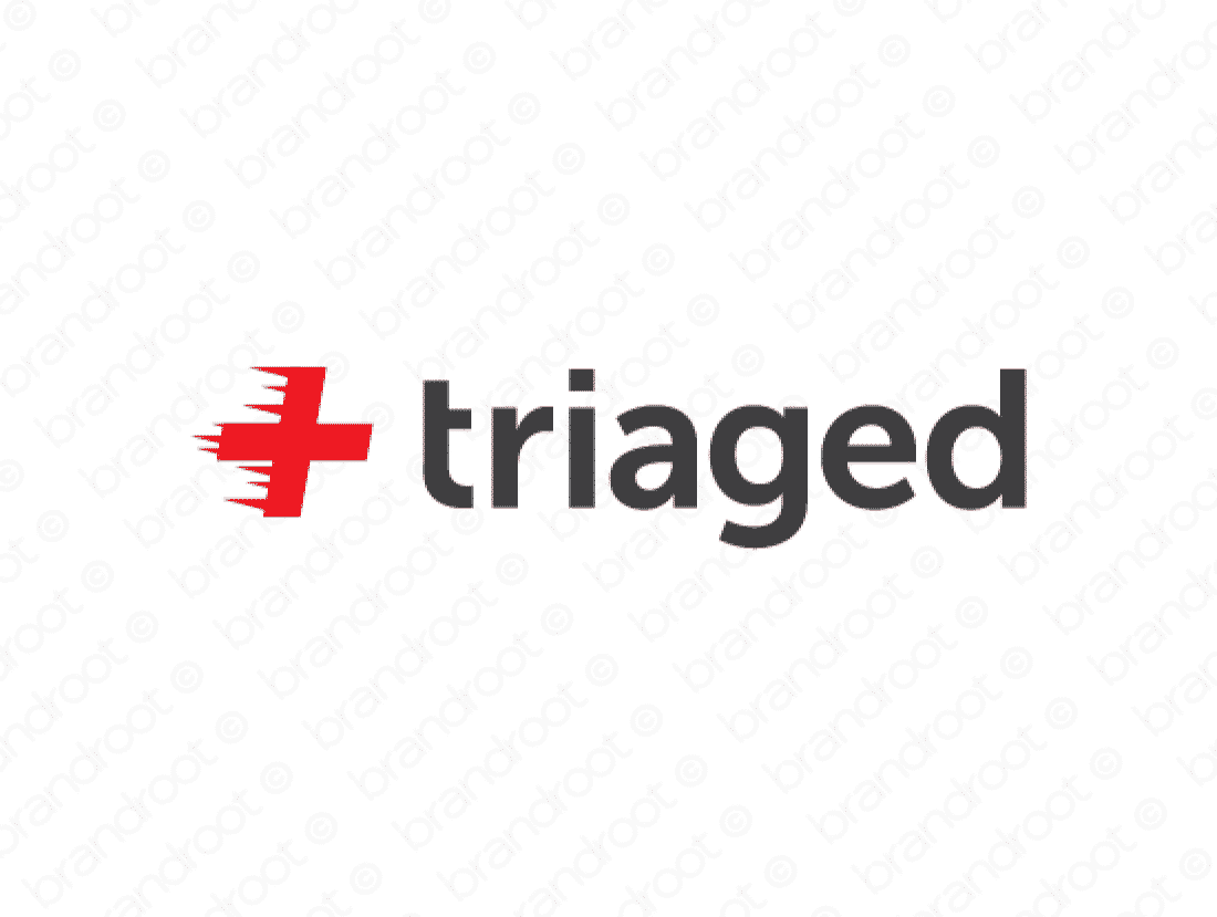 Triaged logo design included with business name and domain name, Triaged.com.