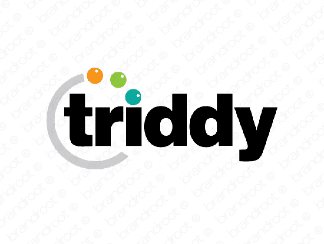 Triddy logo design included with business name and domain name, Triddy.com.