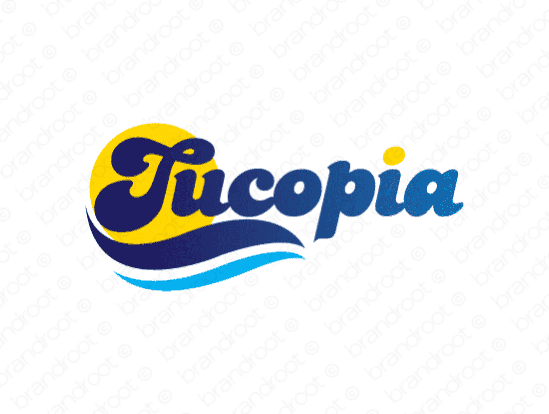 Tucopia logo design included with business name and domain name, Tucopia.com.