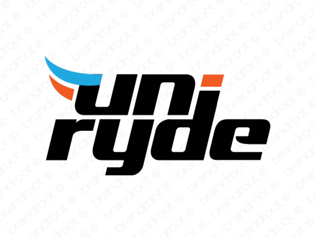Uniryde logo design included with business name and domain name, Uniryde.com.