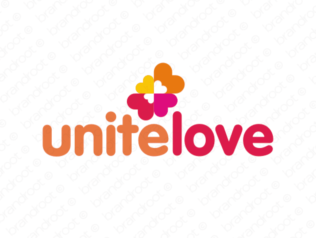 Unitelove logo design included with business name and domain name, Unitelove.com.