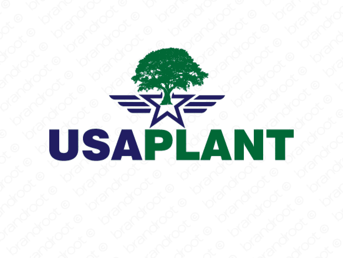 Usaplant logo design included with business name and domain name, Usaplant.com.