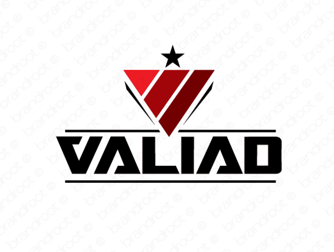 Valiad logo design included with business name and domain name, Valiad.com.