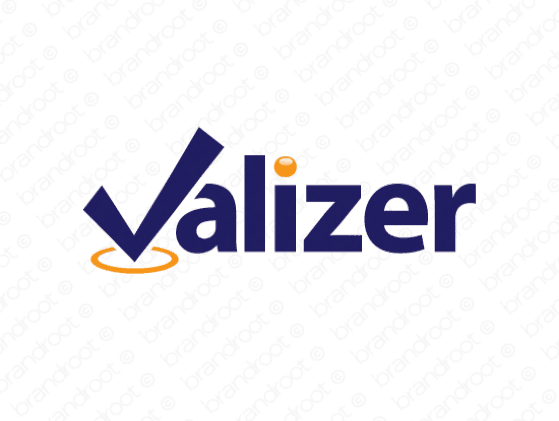 Valizer logo design included with business name and domain name, Valizer.com.