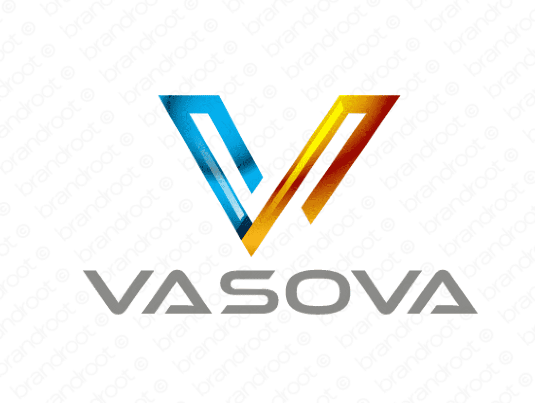Vasova logo design included with business name and domain name, Vasova.com.