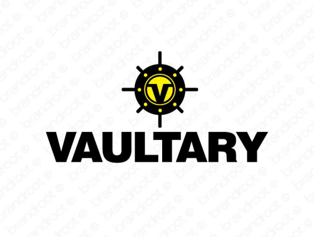 Vaultary logo design included with business name and domain name, Vaultary.com.