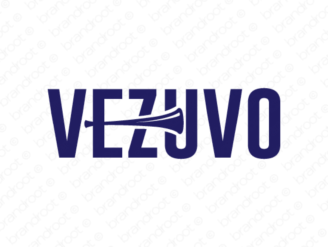 Vezuvo logo design included with business name and domain name, Vezuvo.com.