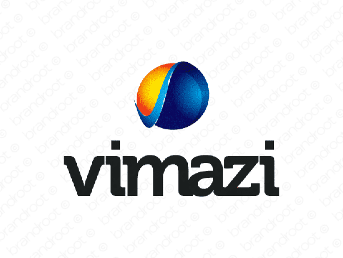 Vimazi logo design included with business name and domain name, Vimazi.com.