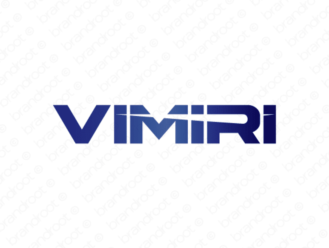 Vimiri logo design included with business name and domain name, Vimiri.com.