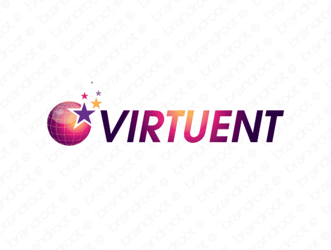 Virtuent logo design included with business name and domain name, Virtuent.com.
