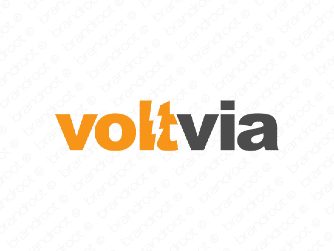 Voltvia logo design included with business name and domain name, Voltvia.com.