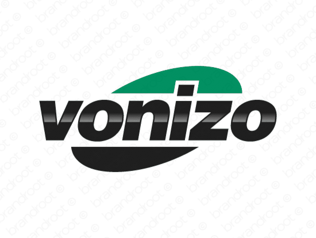 Vonizo logo design included with business name and domain name, Vonizo.com.