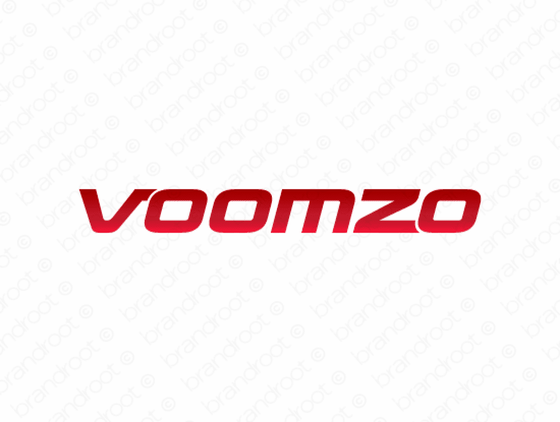 Voomzo logo design included with business name and domain name, Voomzo.com.