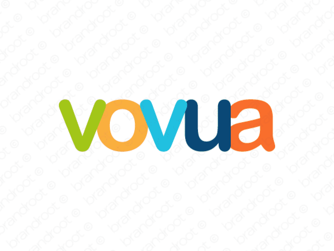 Vovua logo design included with business name and domain name, Vovua.com.