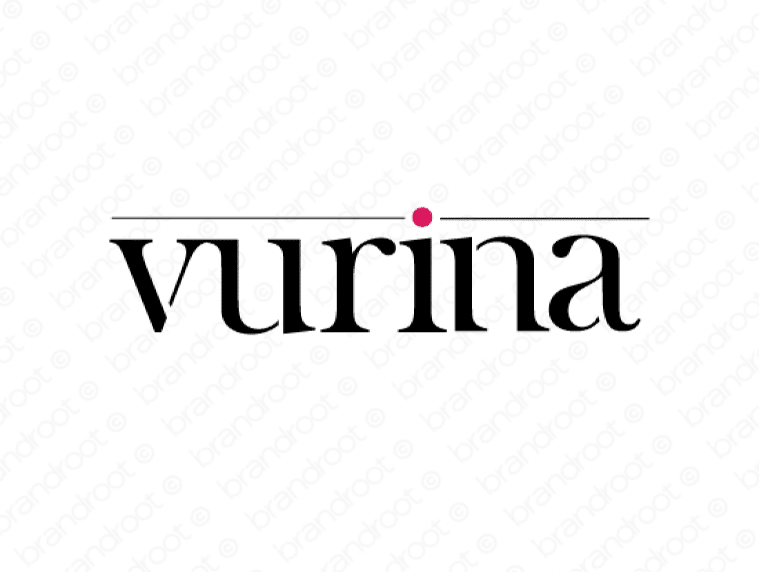 Vurina logo design included with business name and domain name, Vurina.com.