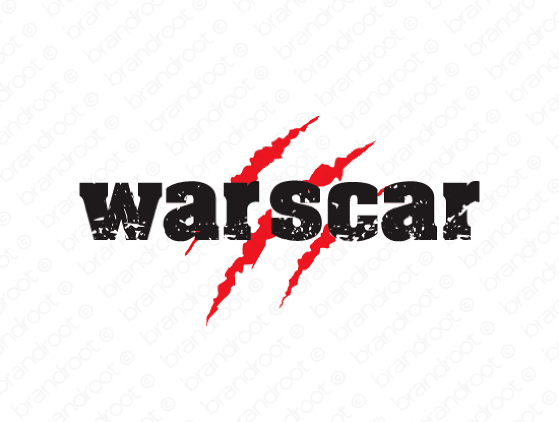 Warscar logo design included with business name and domain name, Warscar.com.