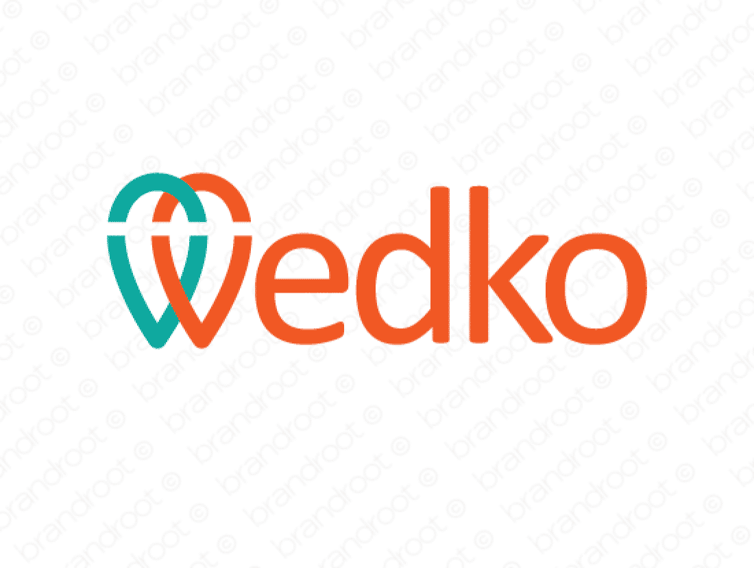 Wedko logo design included with business name and domain name, Wedko.com.