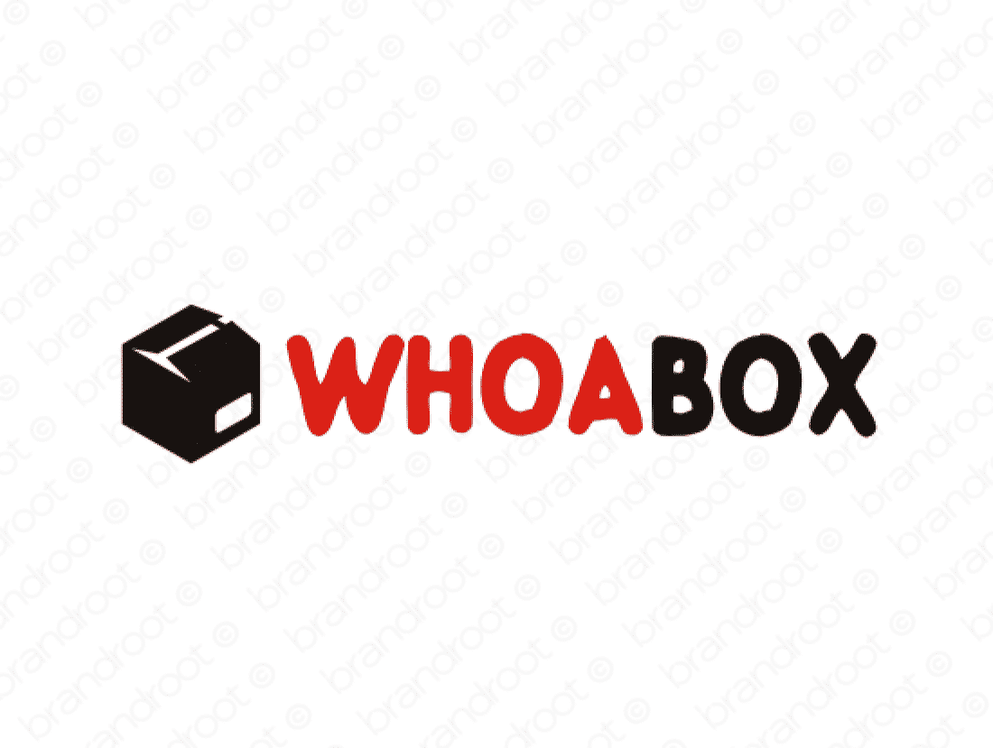 Whoabox logo design included with business name and domain name, Whoabox.com.