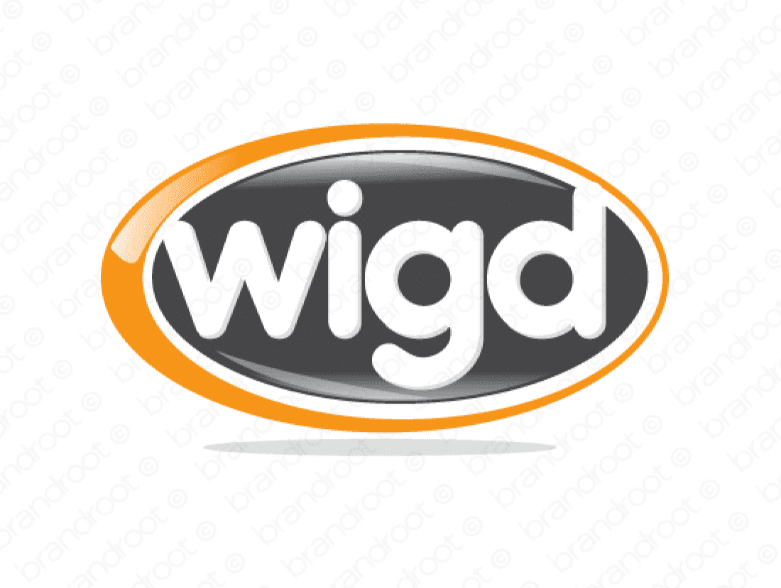 Wigd logo design included with business name and domain name, Wigd.com.