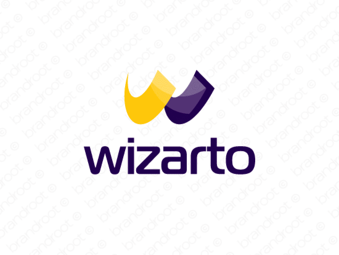 Wizarto logo design included with business name and domain name, Wizarto.com.