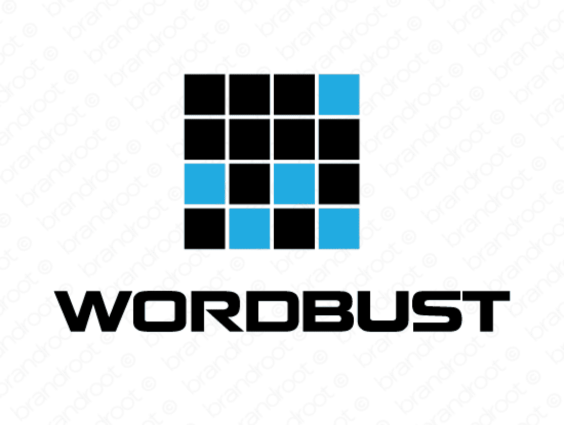 Wordbust logo design included with business name and domain name, Wordbust.com.