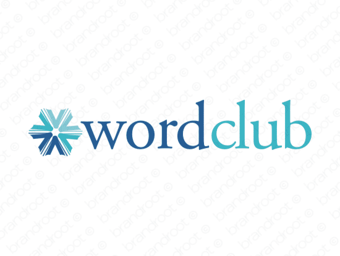Wordclub logo design included with business name and domain name, Wordclub.com.