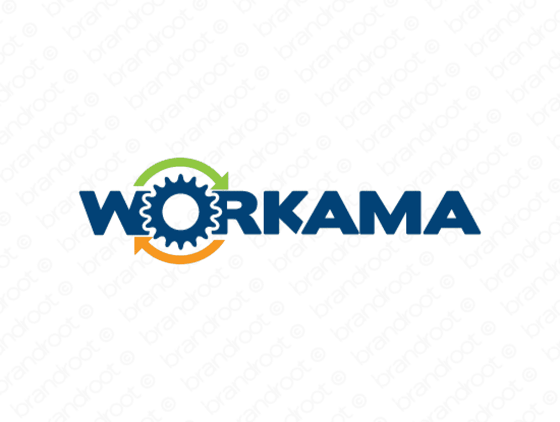 Workama logo design included with business name and domain name, Workama.com.