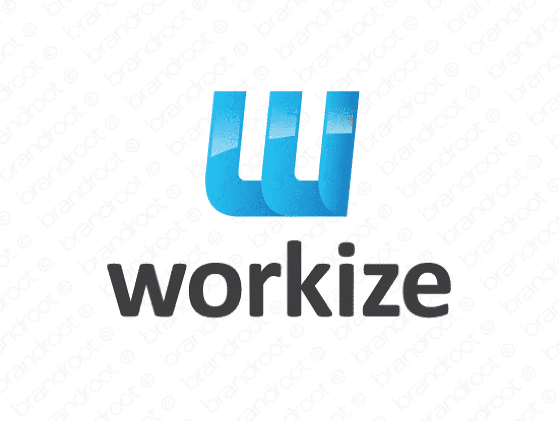 Workize logo design included with business name and domain name, Workize.com.