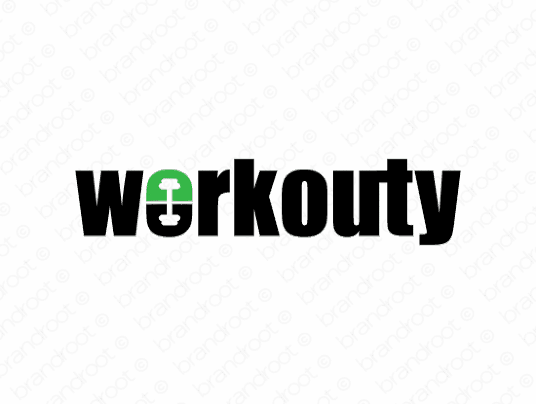 Workouty logo design included with business name and domain name, Workouty.com.