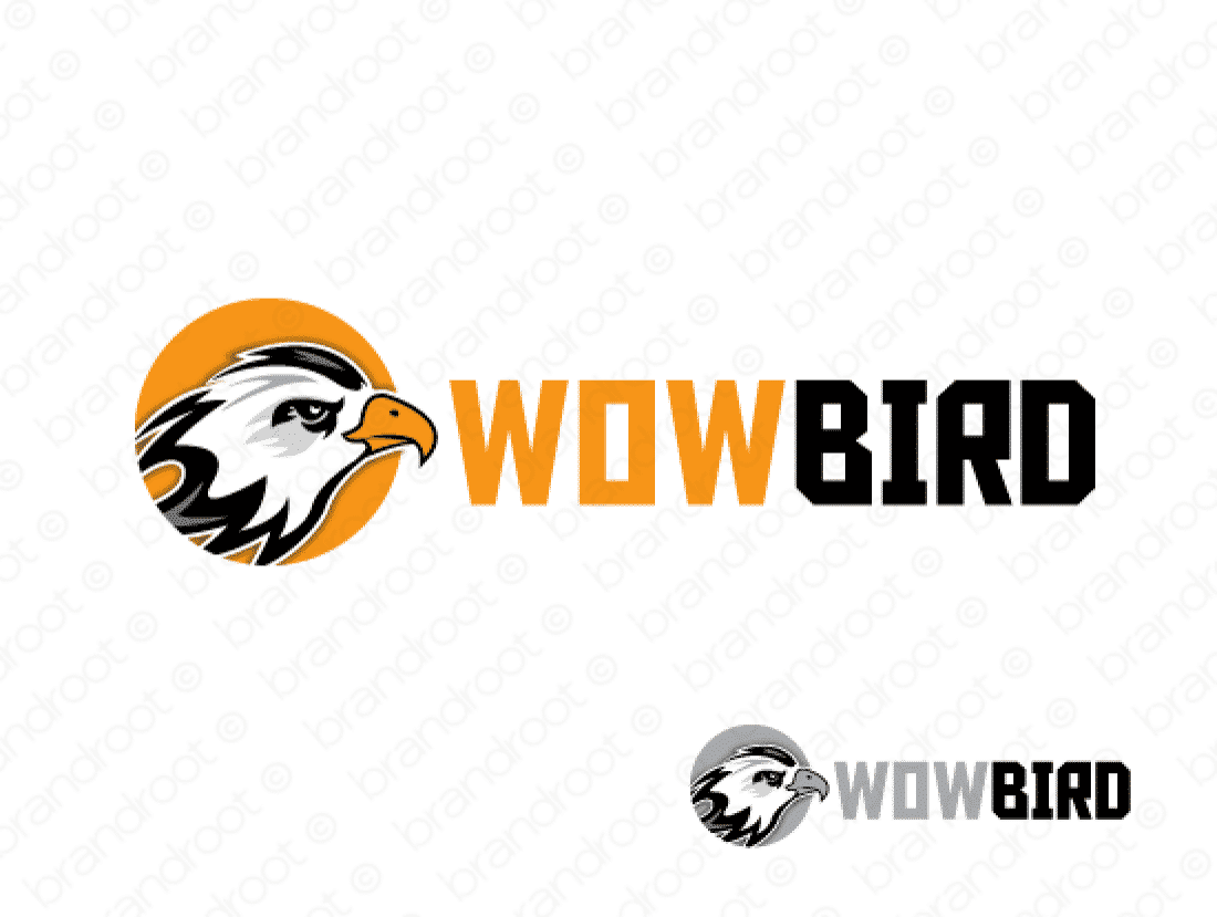 Wowbird logo design included with business name and domain name, Wowbird.com.