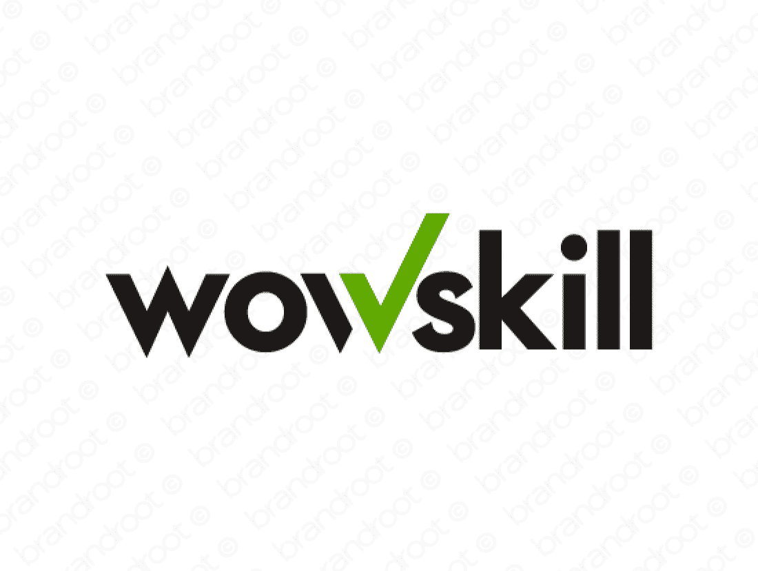 Wowskill logo design included with business name and domain name, Wowskill.com.