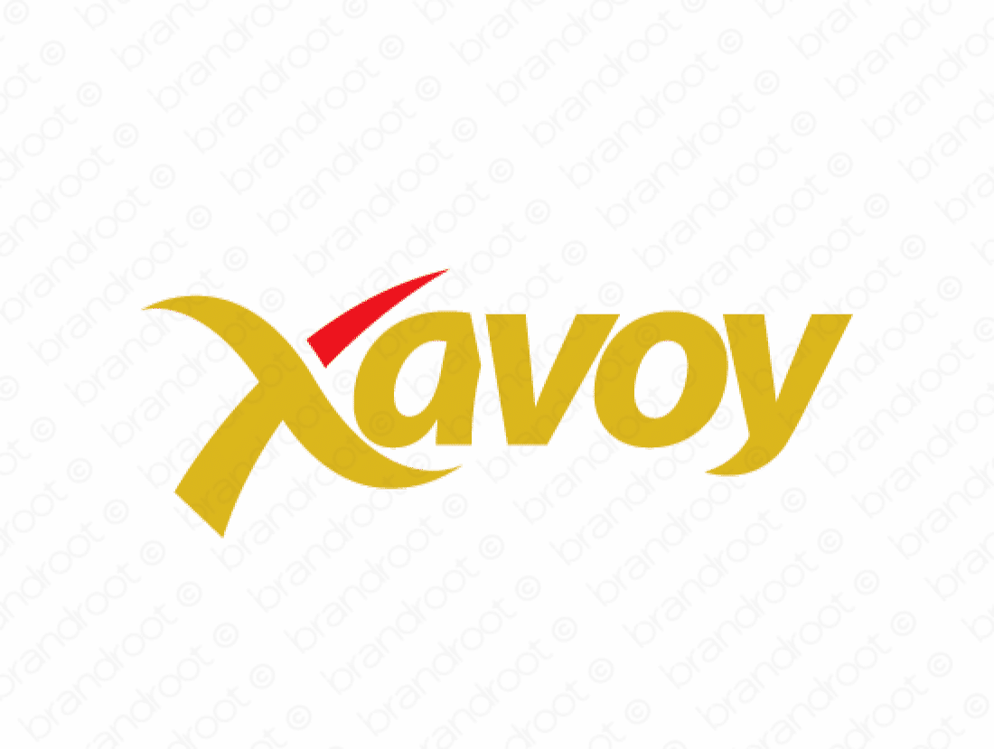 Xavoy logo design included with business name and domain name, Xavoy.com.
