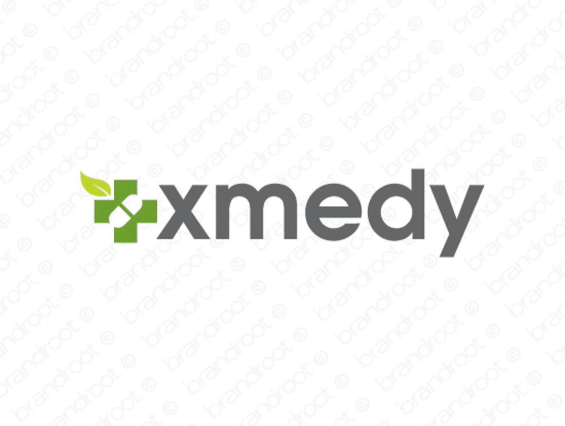 Xmedy logo design included with business name and domain name, Xmedy.com.