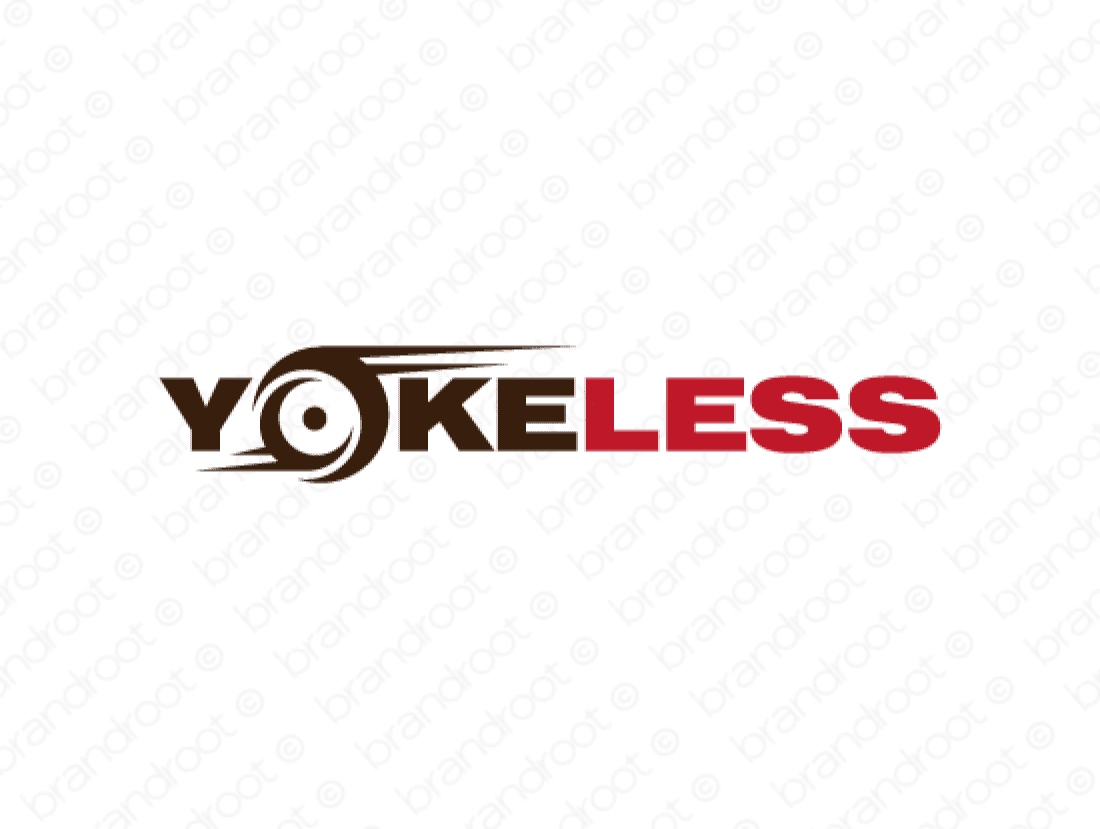 Yokeless logo design included with business name and domain name, Yokeless.com.
