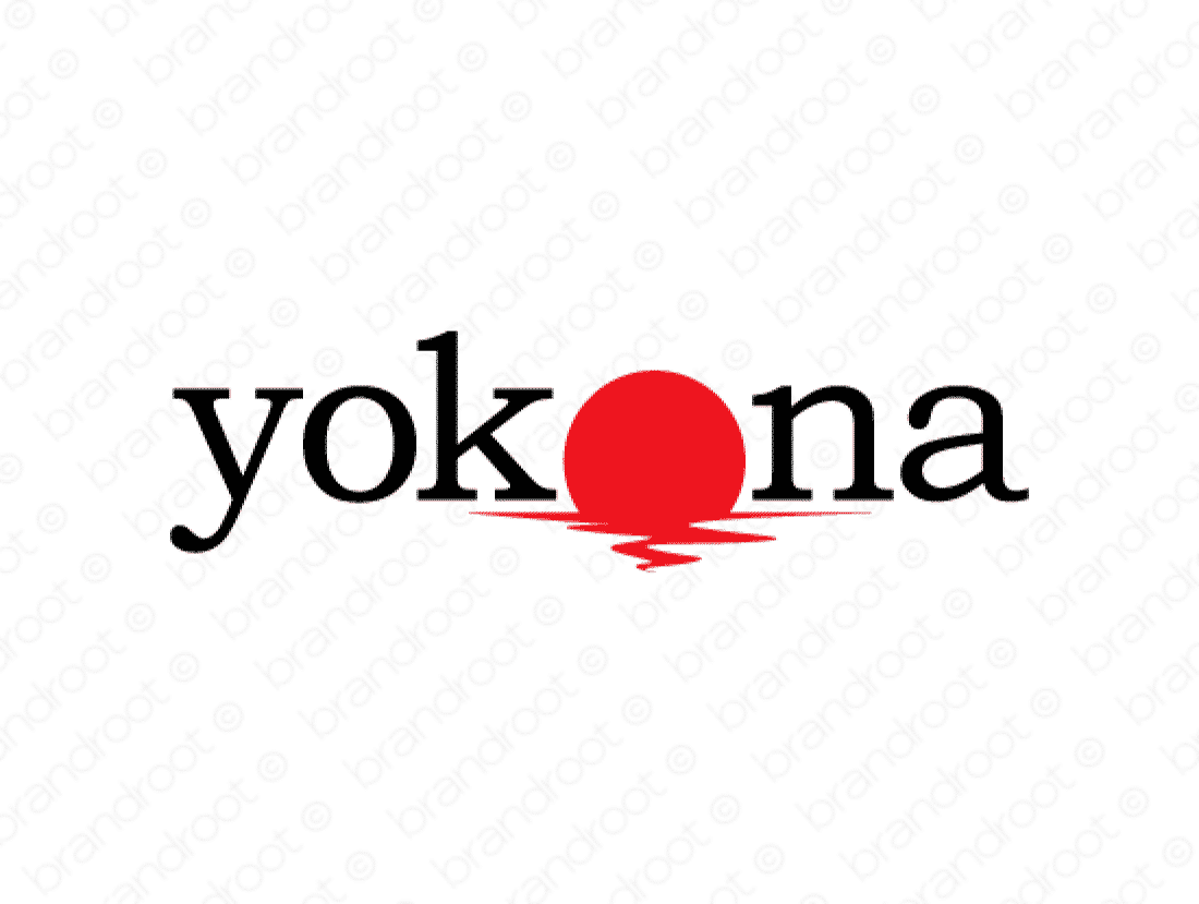 Yokona logo design included with business name and domain name, Yokona.com.