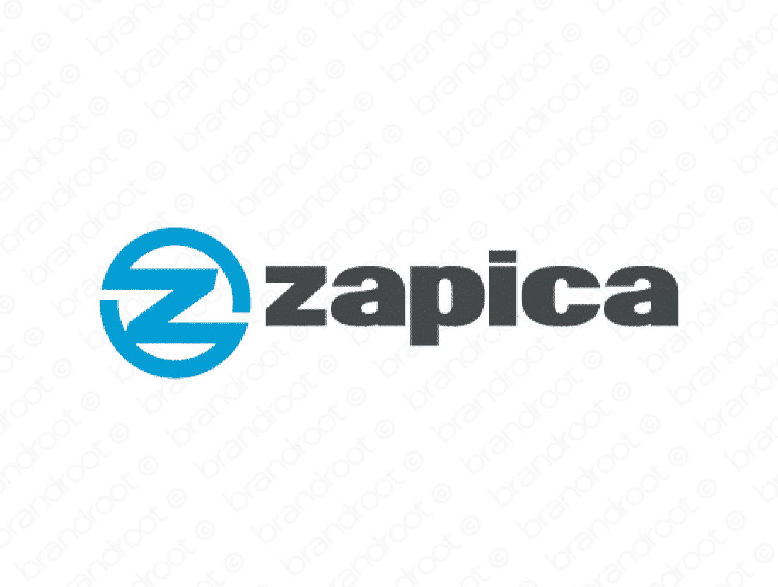 Zapica logo design included with business name and domain name, Zapica.com.