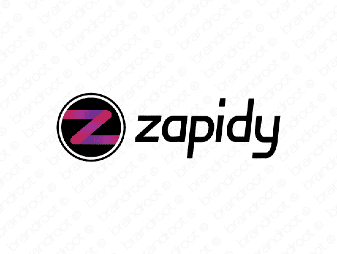 Zapidy logo design included with business name and domain name, Zapidy.com.