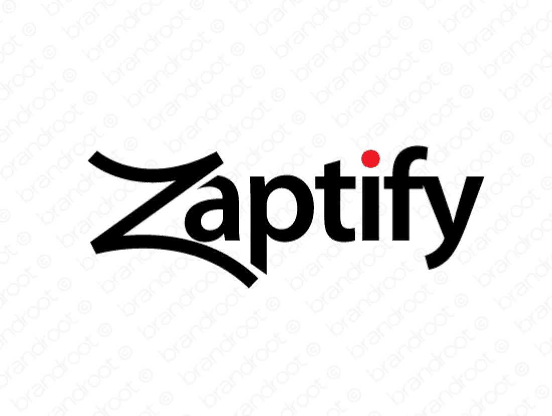 Zaptify logo design included with business name and domain name, Zaptify.com.