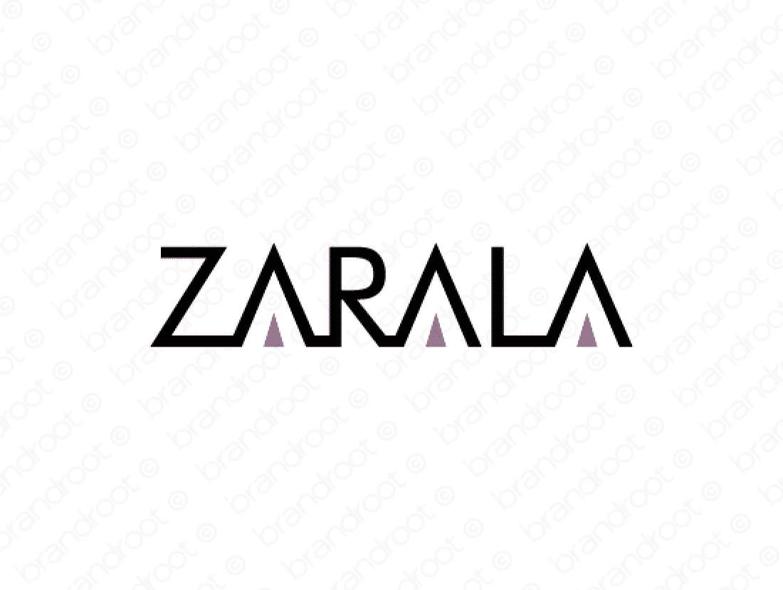 Zarala logo design included with business name and domain name, Zarala.com.