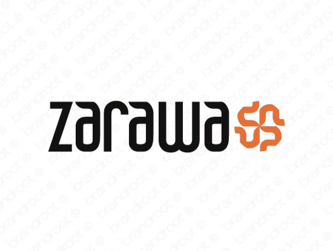 Zarawa logo design included with business name and domain name, Zarawa.com.