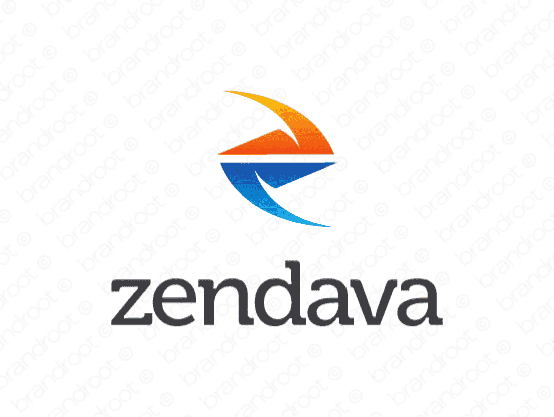 Zendava logo design included with business name and domain name, Zendava.com.