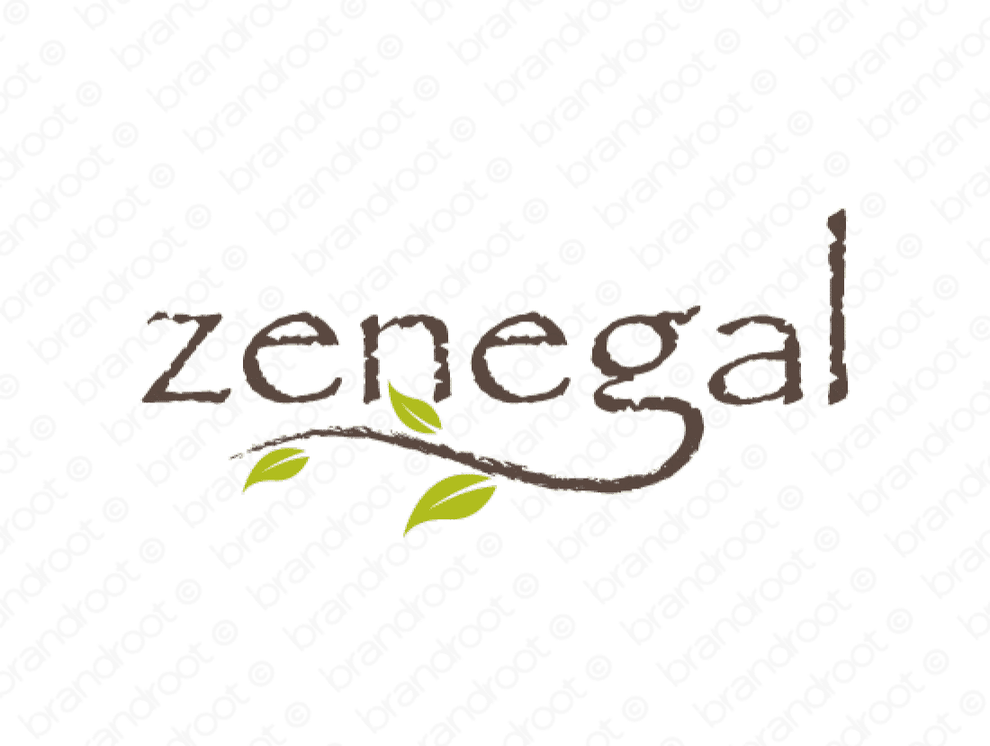Zenegal logo design included with business name and domain name, Zenegal.com.