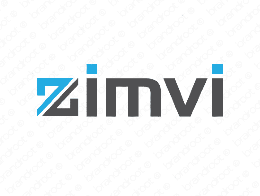 Zimvi logo design included with business name and domain name, Zimvi.com.
