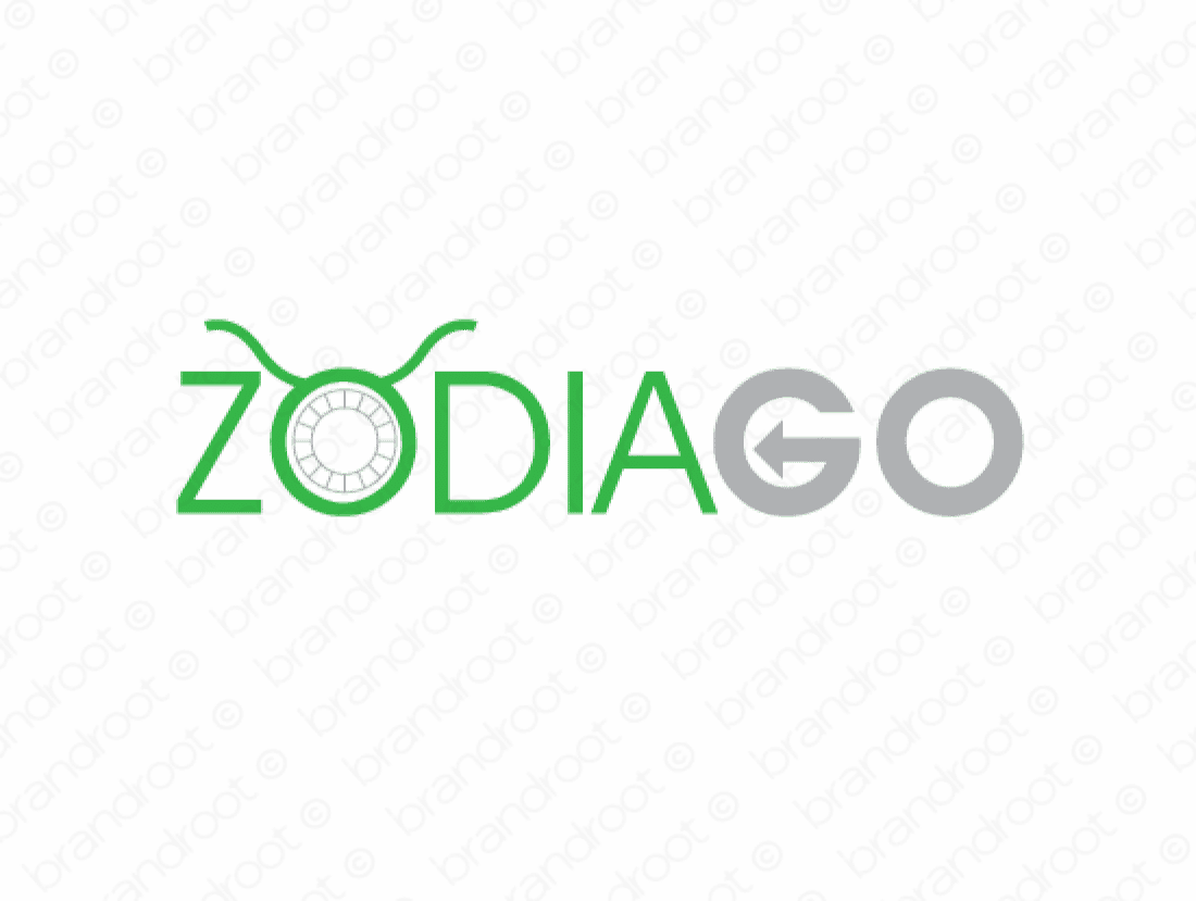 Zodiago logo design included with business name and domain name, Zodiago.com.