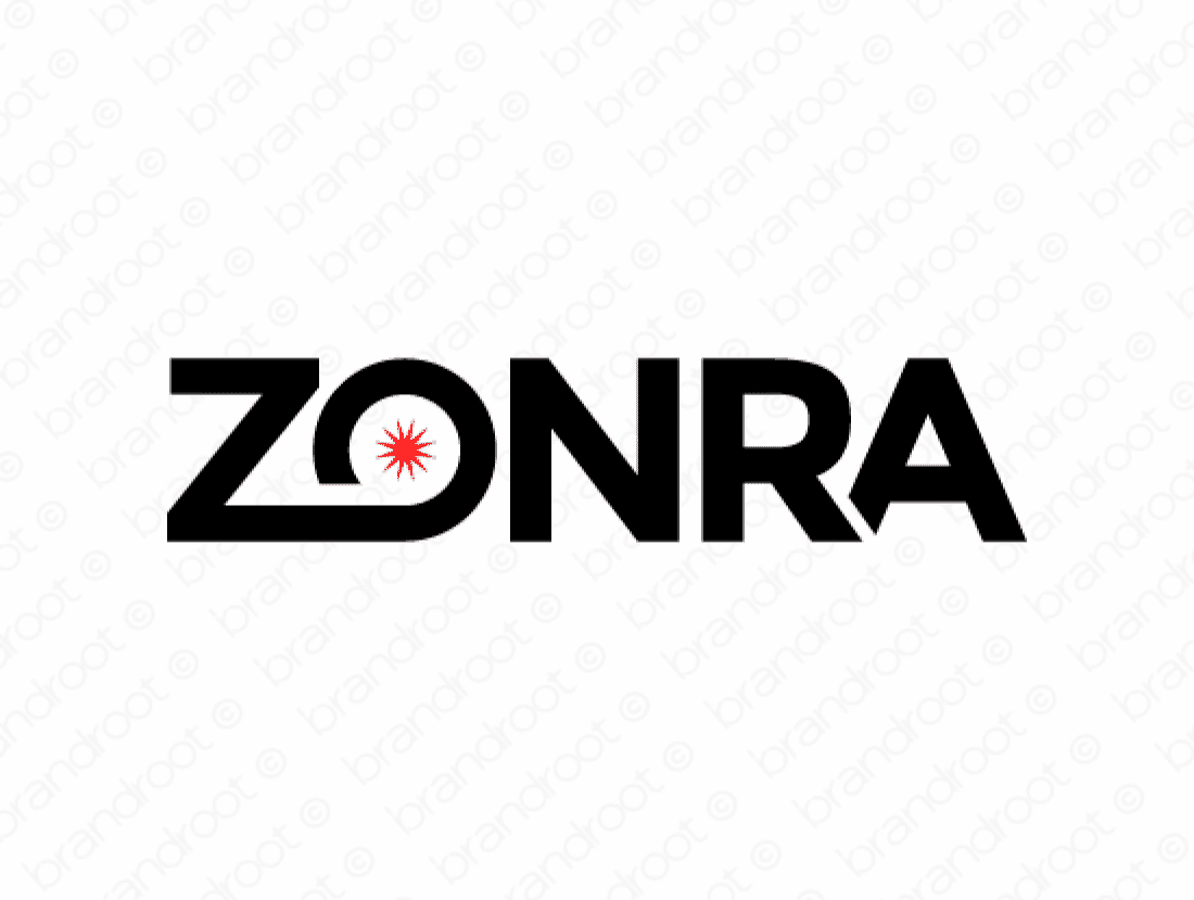Zonra logo design included with business name and domain name, Zonra.com.